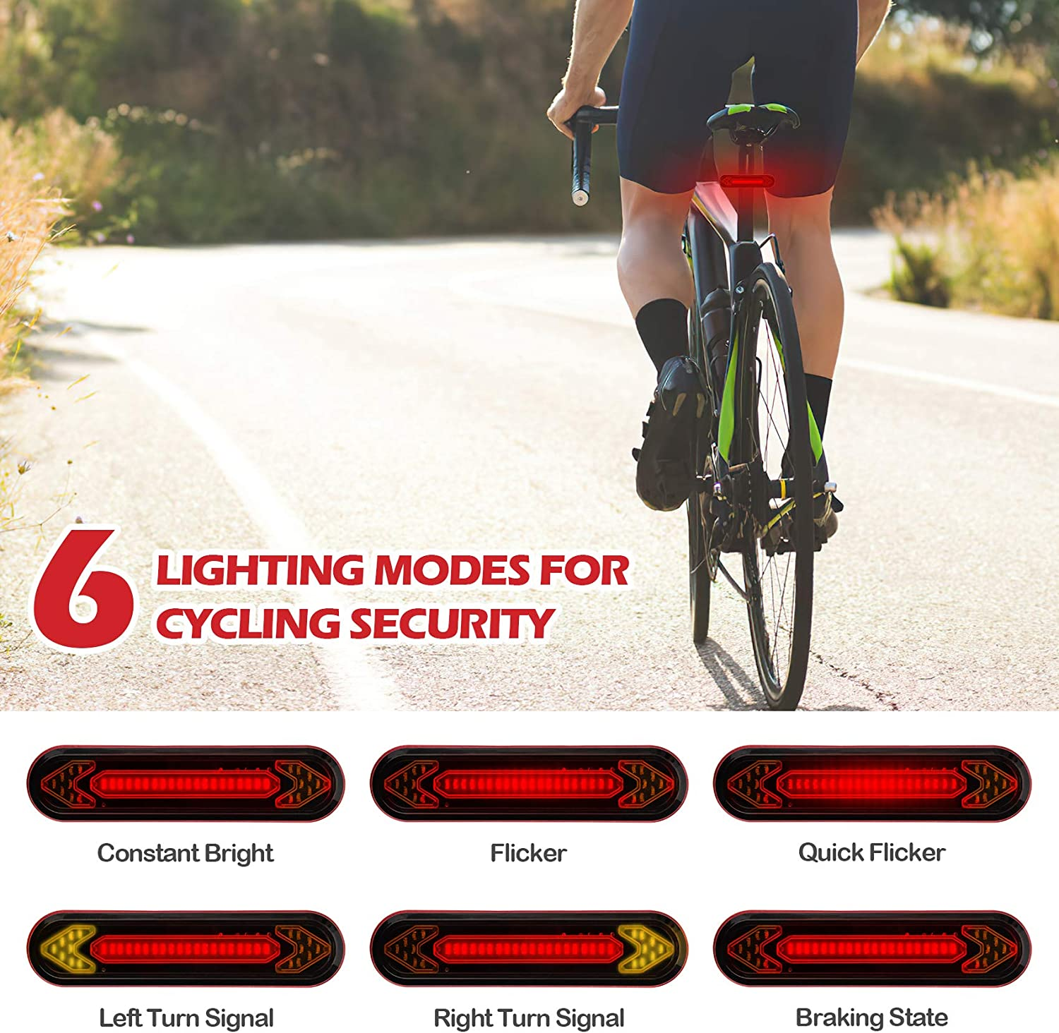 Cerbonny USB Rechargeable Bike Tail Light /& 2 Tire Lights for Bikes Remote Control 6 Modes Bright LED Bike Rear Light with Turn Signal Cycling Safety Light for Mountain Road Bike