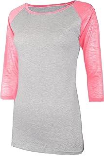 TL Women s 3 4 Sleeve Short Sleeve Stretchy Raglan Baseball T-Shirt Top 722aa5baf