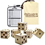 GoSports Giant Wooden Playing Dice Set with Bonus Rollzee and Farkle Scoreboard - Includes 6 Dice, Dry-Erase Scoreboard and C