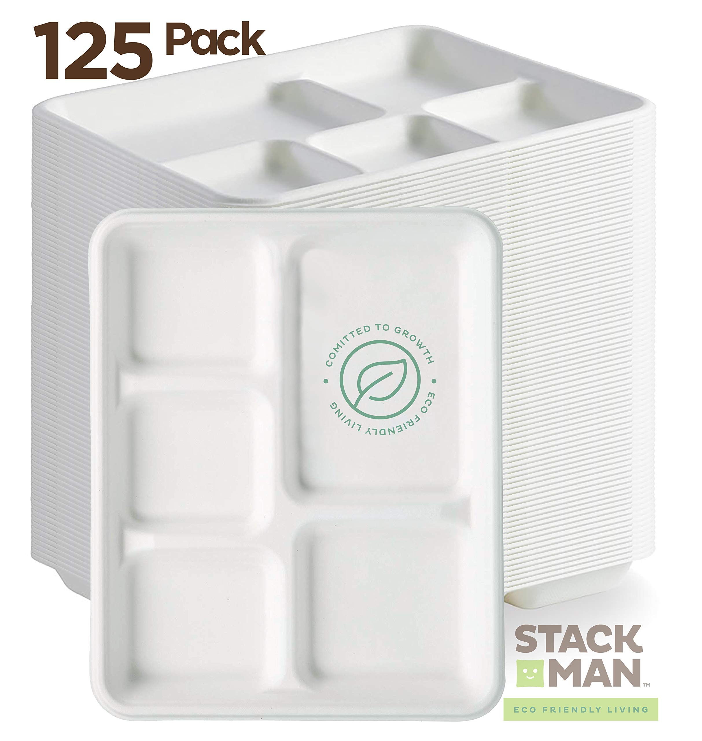 Stack Man 100% Compostable Paper Plate 125-Pack 5-Compartment Bagasse School Lunch Heavy Duty Quality Disposable Tray, Eco-Friendly Made of Sugar Cane Fibers by Stack Man