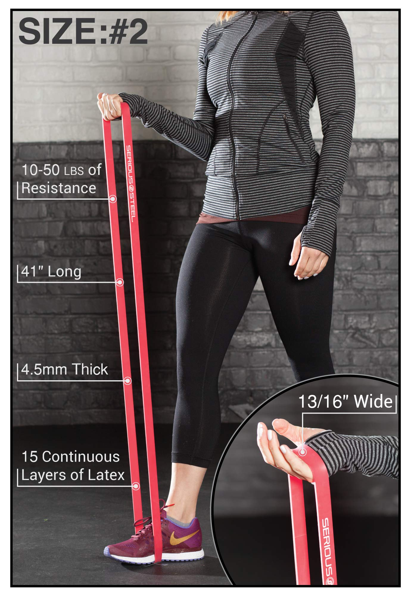 Serious Steel Fitness Red - #2 Monster Mini Pull-up Assist & Resistance Band (Size: 13/16'' x 4.5mm Resistance: 10-50lbs) by Serious Steel Fitness (Image #3)