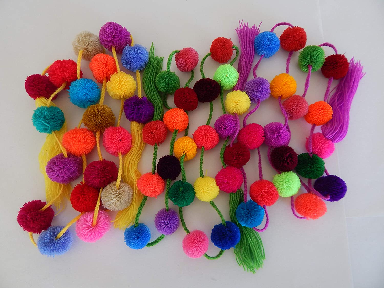 Azuleho - Mexican Pom Pom Garland - 3 Assorted PCS - Mexican Fiesta Party Decoration - Cinco de Mayo Decor - Party Supplies - Yarn Party Pom Poms - Home Décor Supplies