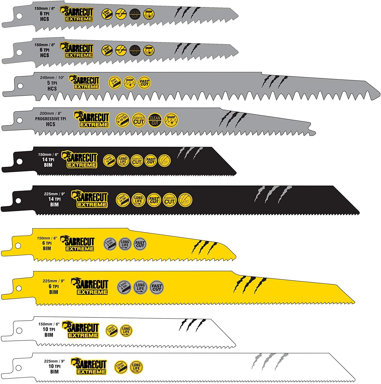 SabreCut SCRSK10C - Juego de 10 hojas de sierra de sable para Bosch Dewalt Makita y muchos otros modelos (S610DF S644D S922BF S922HF S1110DF S1122HF S1122BF S1531L S2345X, madera y metal): Amazon.es: