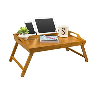 LapGear Media Bed Tray/Breakfast Table/Lap Desk - Natural Bamboo (Fits up to 17  Laptop)
