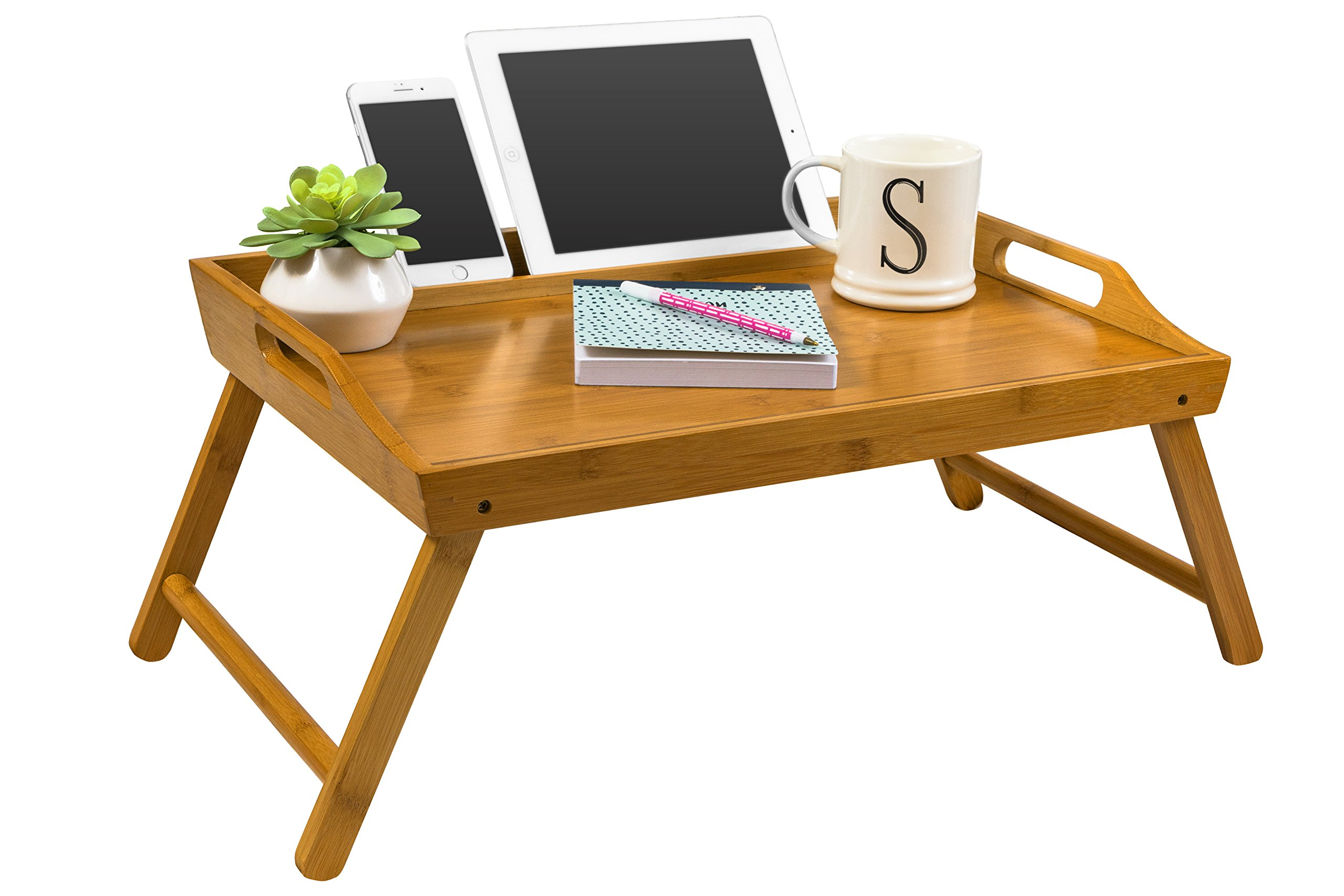 LapGear Media Bed Tray - Natural Bamboo (Fits up to 12.9'' Tablet/17.3'' Laptop)