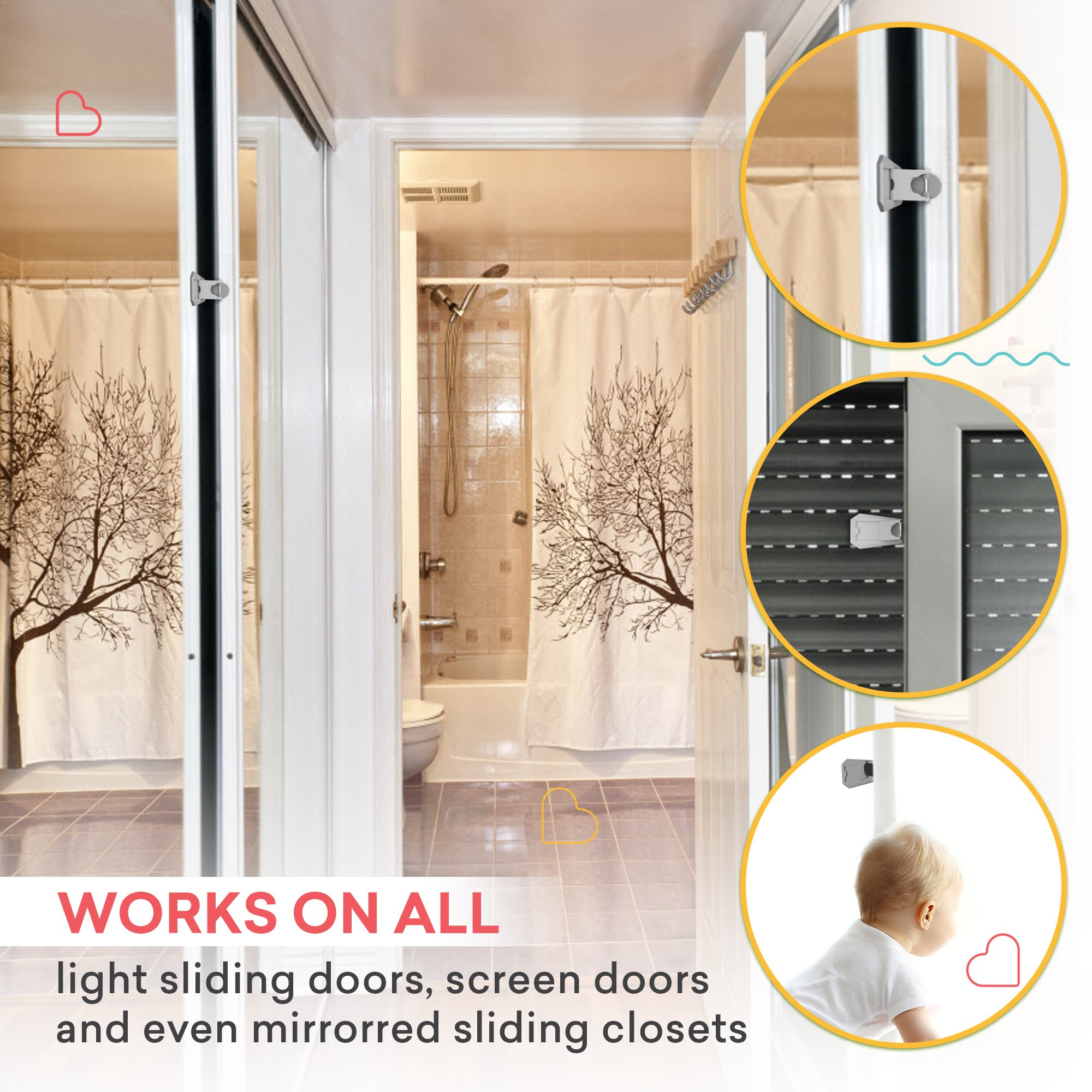 Sliding Door Lock For Child Safety 4 Pack Baby Proof Closets