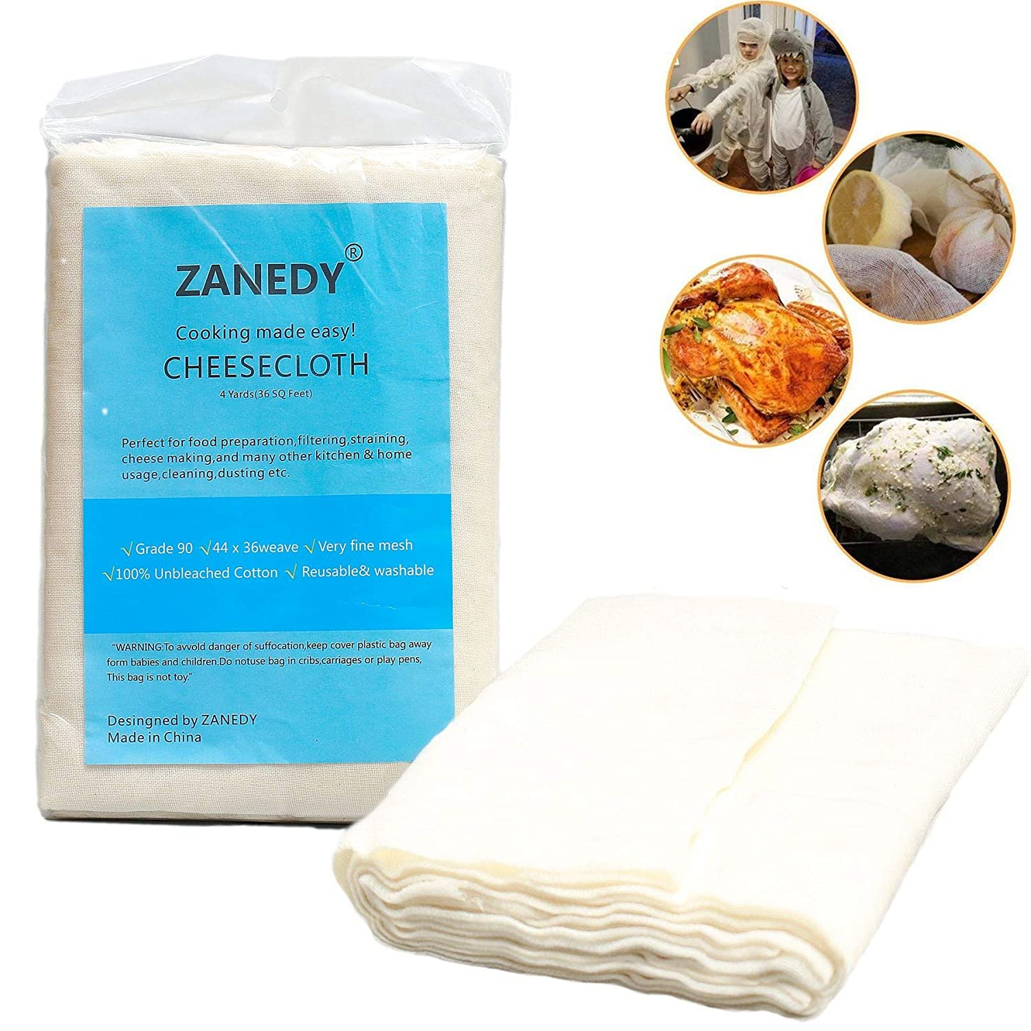 Cheesecloth 100% Unbleached Cotton Fabric Ultra Fine Cheesecloth for Cooking Nut Milk Bag Strainer Filter (Grade 90 4Yards By Zanedy)