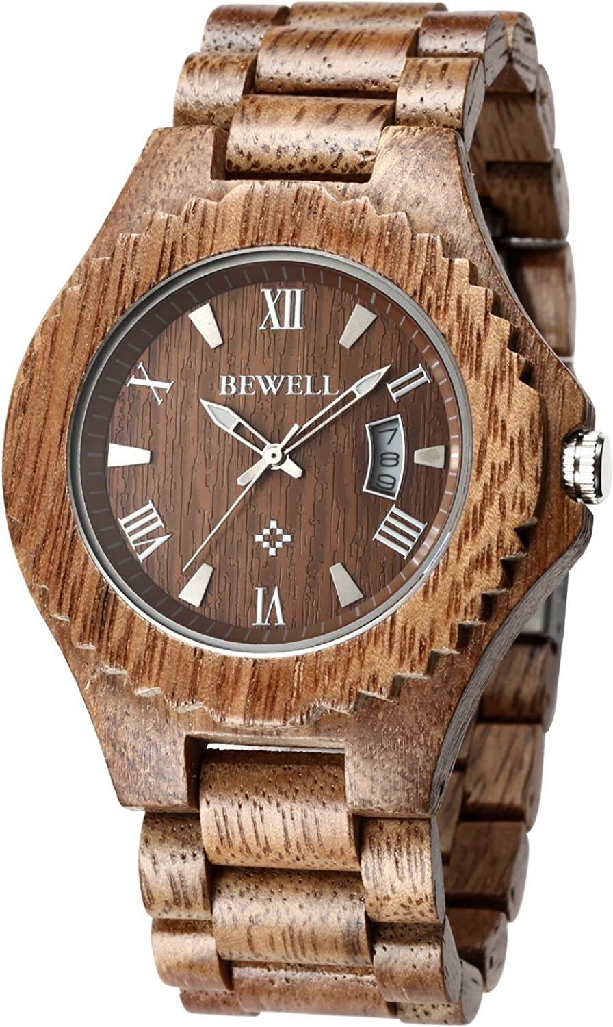 Bewell ZS-W129A Wood Watches for Men Lightweight Wooden Band Lumious Pointer Quartz Analog Wrist Watch