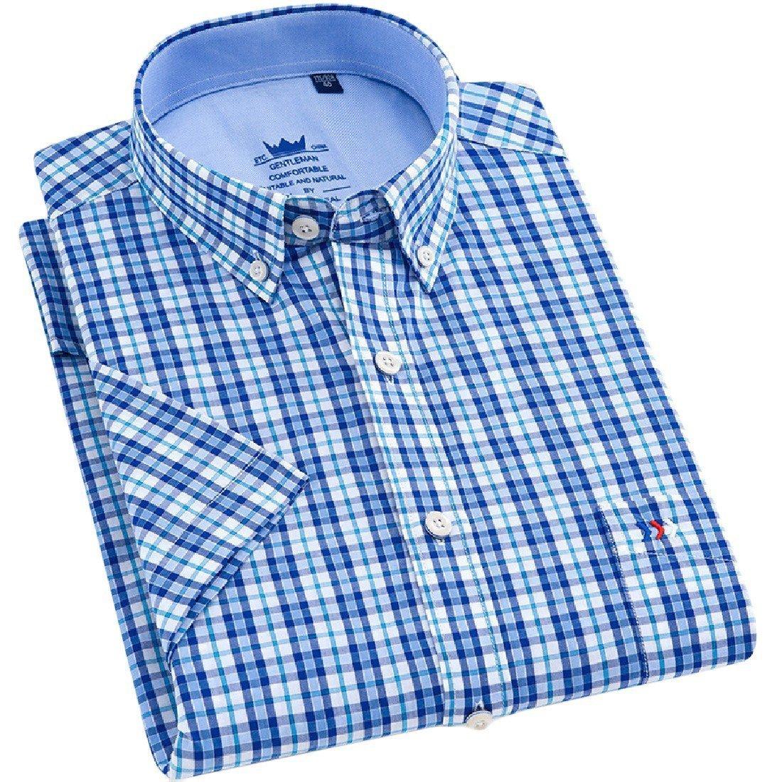 YUNY Men Cotton Oversize Summer Short-Sleeve Leisure Button Down Shirt 13 L