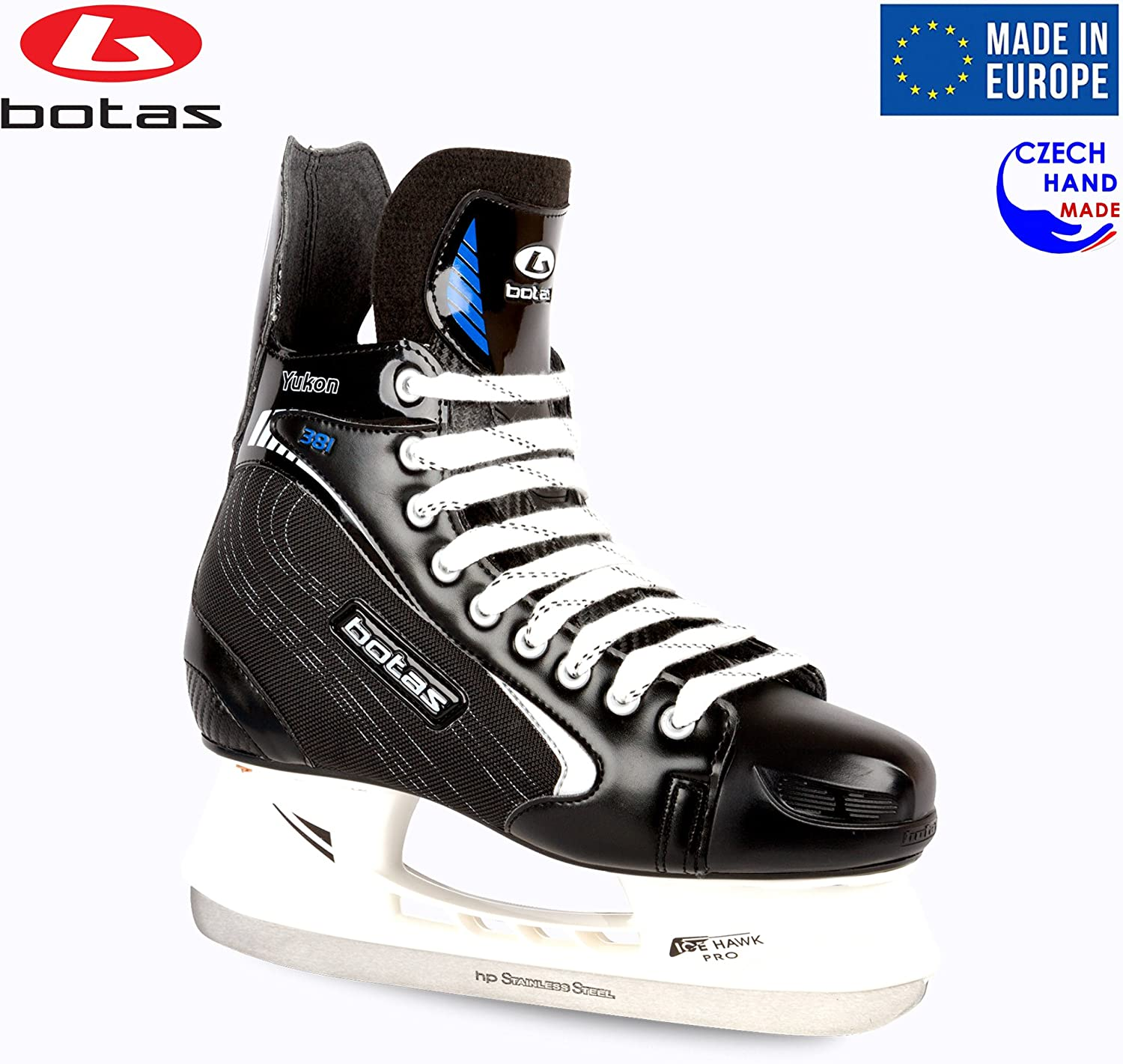 Botas – Yukon 381 – Men s Ice Hockey Skates Made in Europe Czech Republic Color Black with Silver