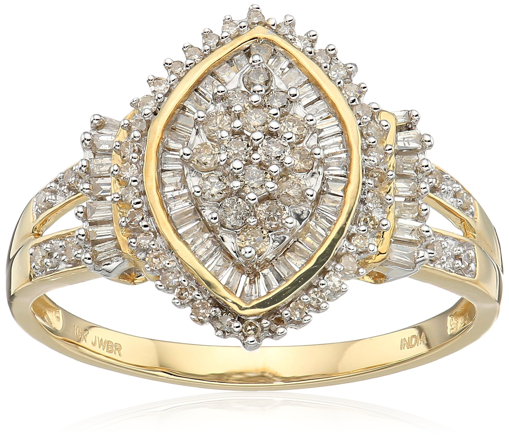 10k Yellow Gold Diamond Cocktail Cluster Ring (1/2 cttw), Size 9