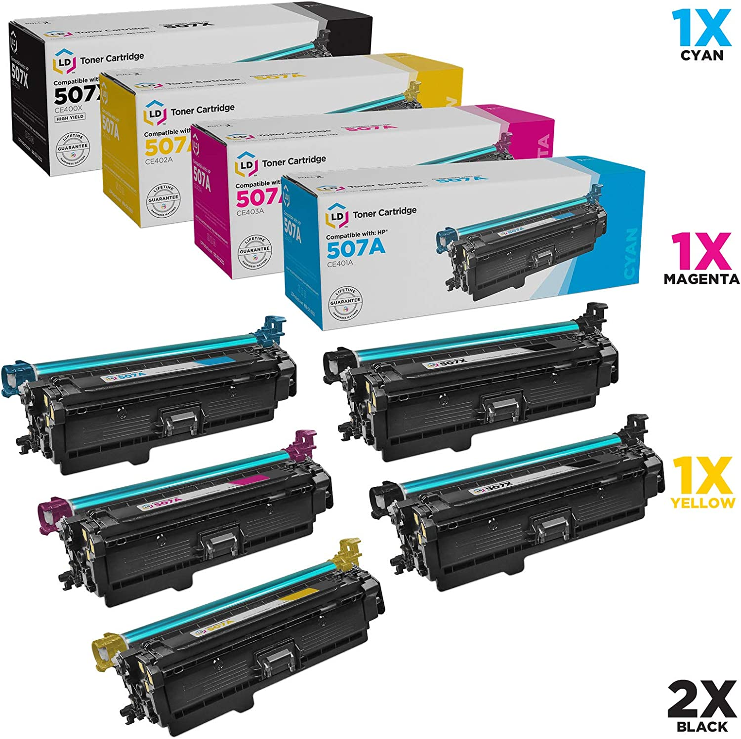 LD Remanufactured Toner Cartridge Replacements for HP 507A & HP 507X High Yield (2 Black, 1 Cyan, 1 Magenta, 1 Yellow, 5-Pack)