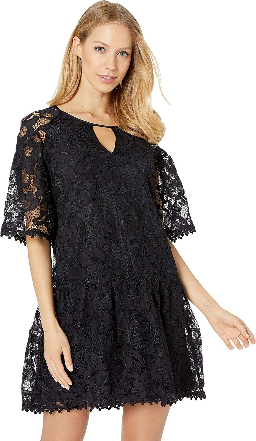 Zenith Large Juicy Couture Black Label Womens Hibiscus Lace Flounce Sleeves Party Dress