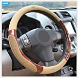 Nikavi Luxury Microfiber Leather Auto Car Steering Wheel Cover Universal 15 Inch (Beige)