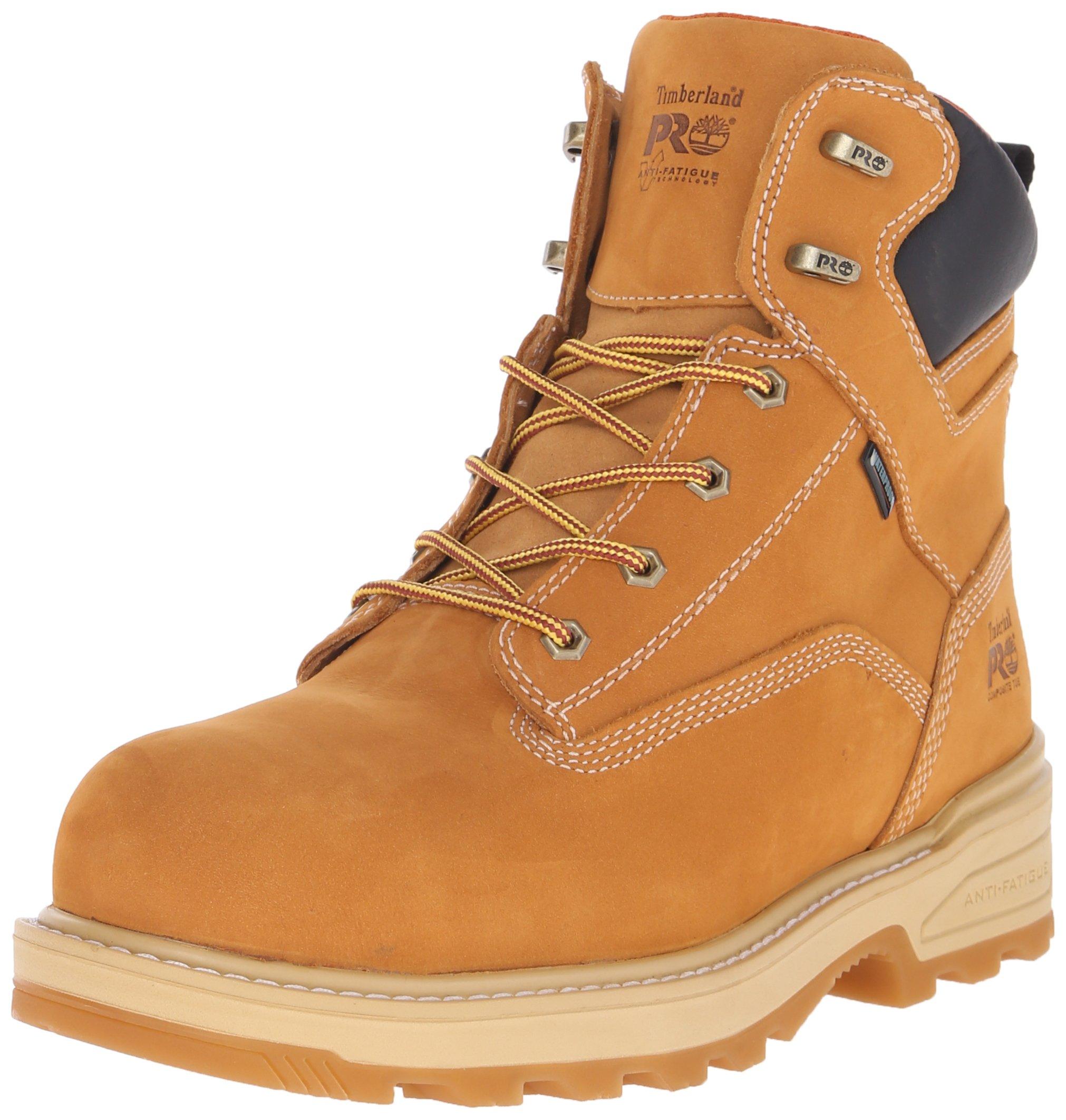 Timberland PRO Men's 6 Inch Resistor Comp Toe Waterproof Ins Work Boot, Wheat Tumbled Full Grain Leather, 13 W US