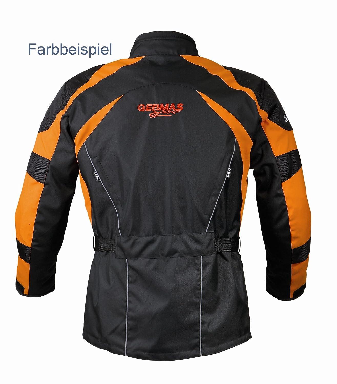 6XL Gr Schwarz//Fluogelb GERMAS 548.05-6XL Motorradjacke TWISTER