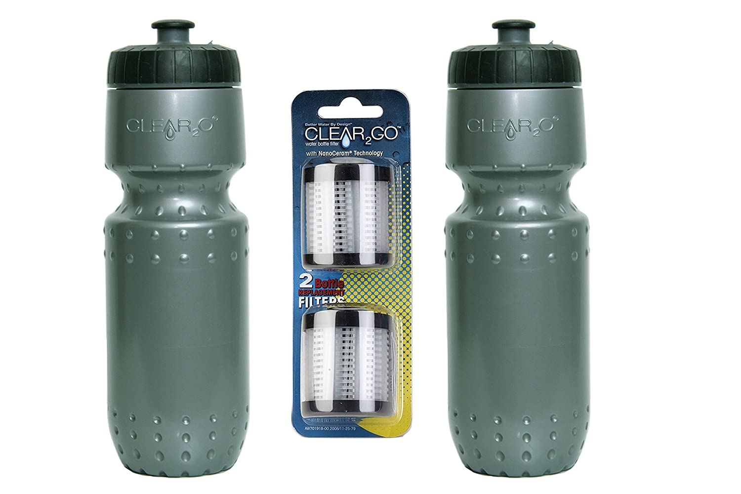 Reduces Chlorine and Odor Clear2o Silver 100 Gallons of Filtration Clear2GO 2 Silver Sport Water Bottles with Filter 2 Pack