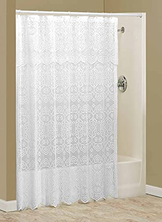 Lace Shower Curtain With Valance By WalterDrake