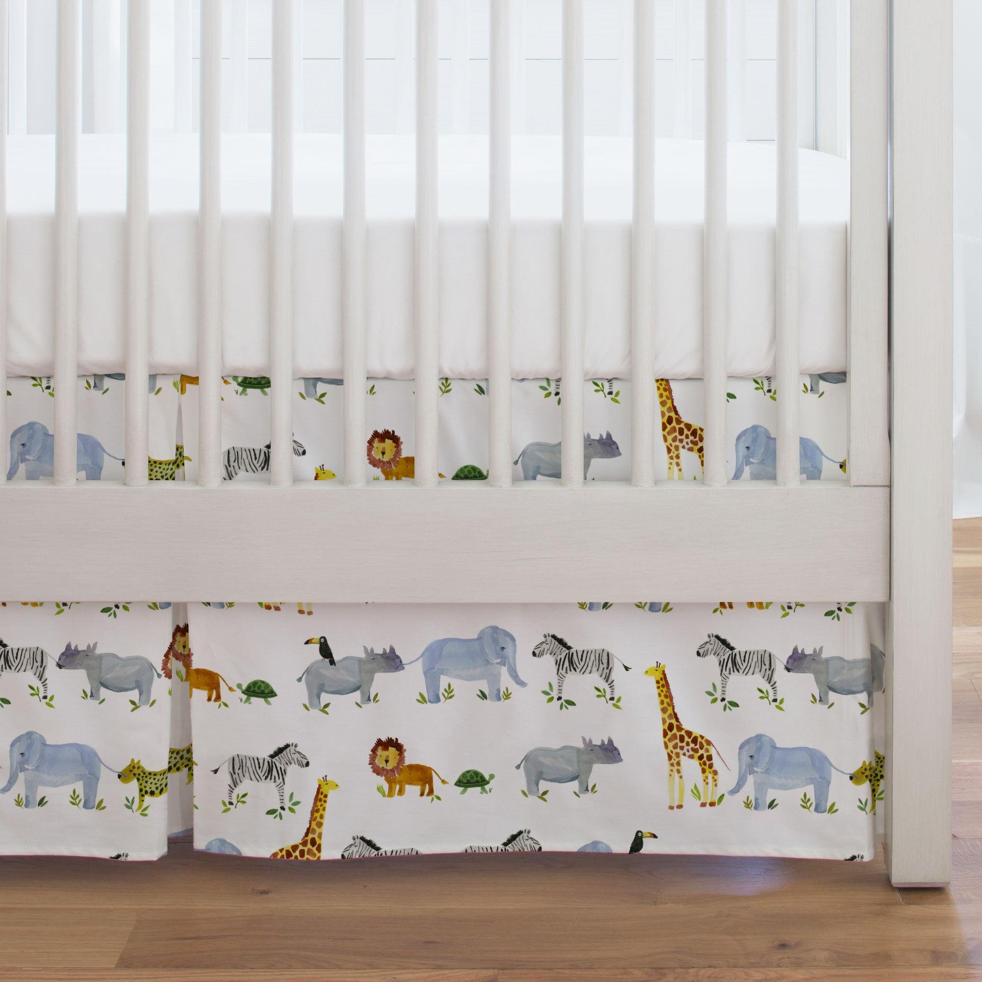 Carousel Designs Painted Zoo Crib Skirt Single-Pleat 17-Inch Length - Organic 100% Cotton Crib Skirt - Made in The USA by Carousel Designs