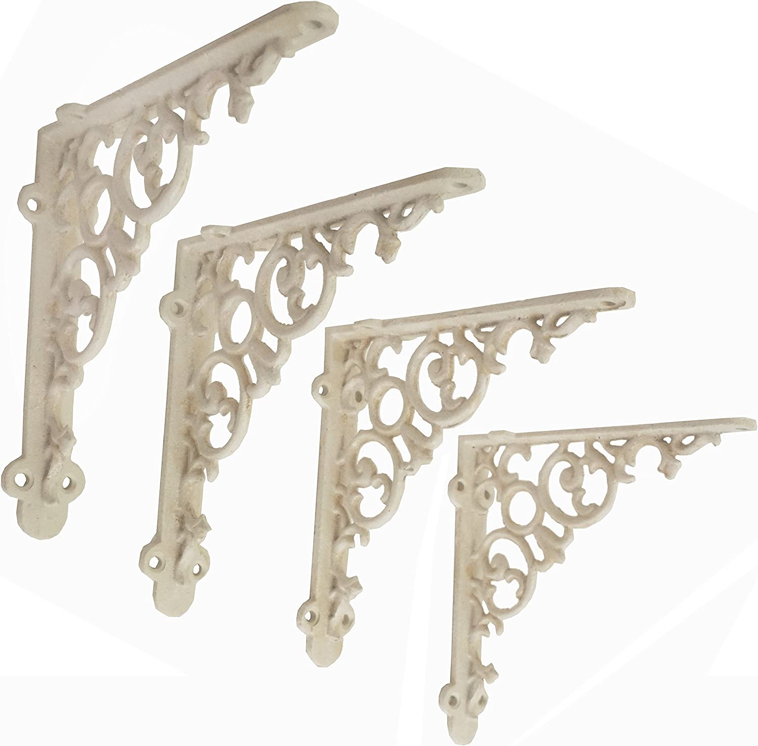 4 pairs of small Victorian scrolled cast iron brackets 4 inch wall shelf bracket
