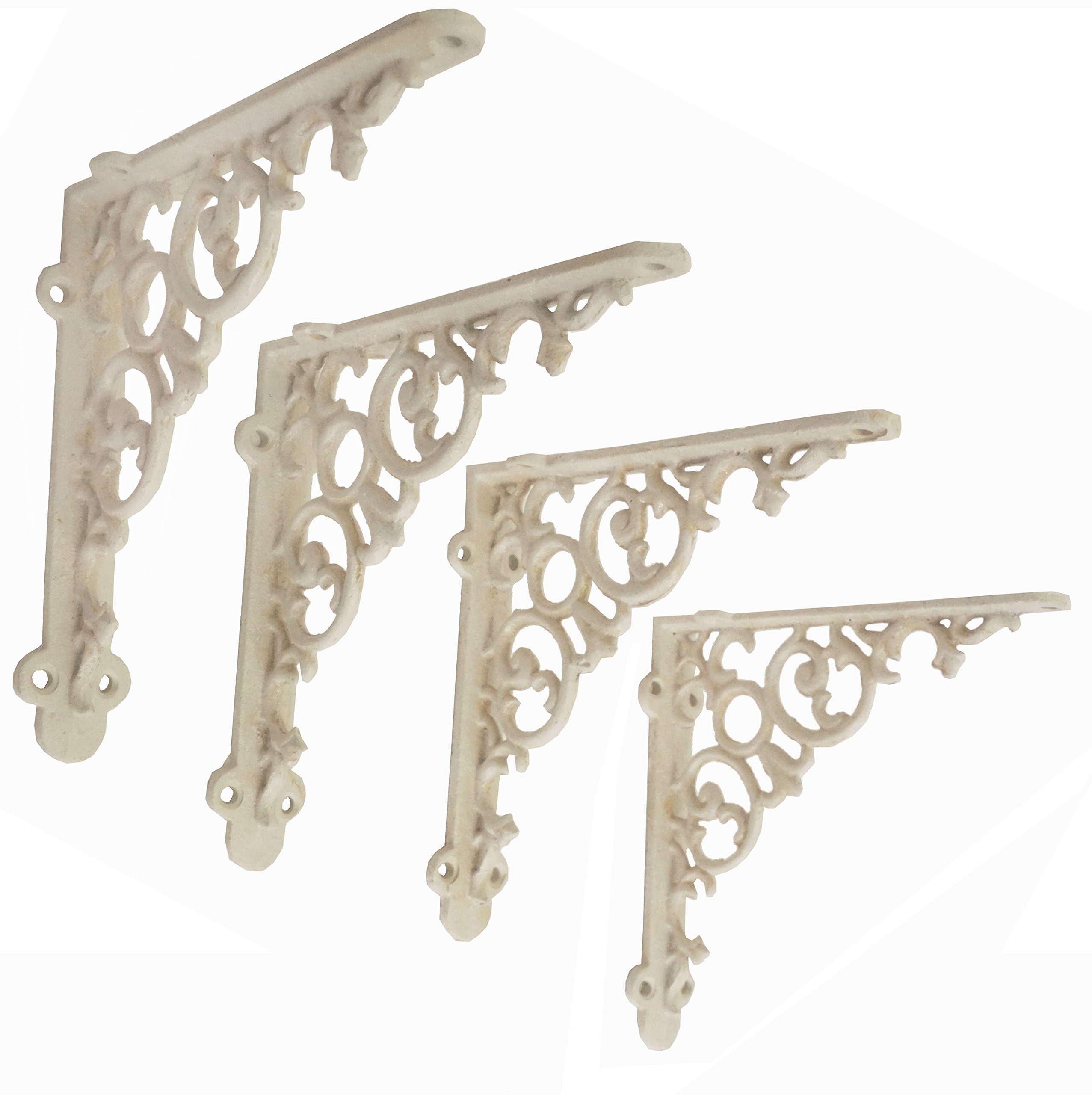 NACH js-90-416AW Cast Iron Victorian Scroll Shelf Brackets, Pack of 4, White, Small 6x1.2x6 Inches
