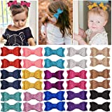 30PCS 2.75'' Baby Girls Pigtail Bows Sparkly Sequin Glitter Hair Bows With Alligator Clips Hair Barrettes Accessory for…