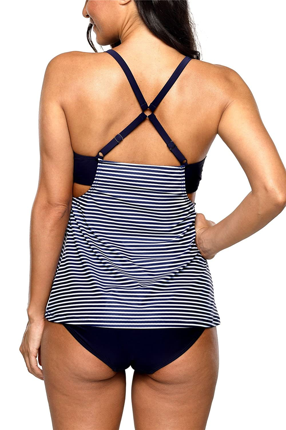 maysoul Women Striped Tankini Set with Brief Cross Back Padded Two Piece Swimsuit