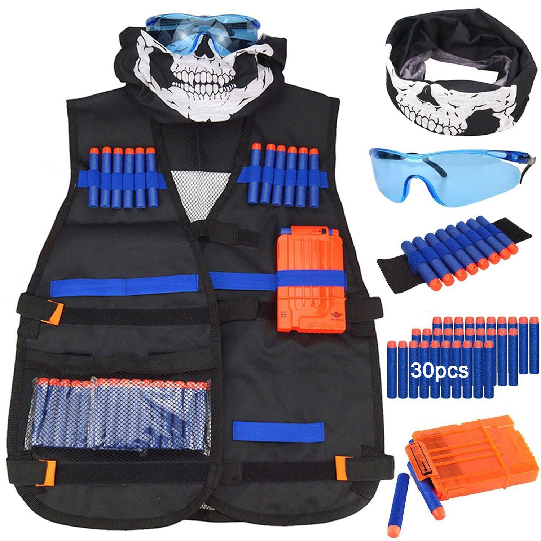 Kit de chaleco táctico para niños - Kit de chaleco táctico para niños Elite Foam Bullets para Nerf N-strike Elite Series con 30 dardos de recarga + 1 Clip de recarga + Muñequera de dardo suave + Máscara de tubo facial + Gafas (chaleco táctico para niños) G