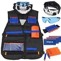Kit de chaleco táctico para niños - Kit de chaleco táctico para niños Elite Foam Bullets para Nerf N-strike Elite Series con 30 dardos de recarga + 1 Clip de recarga + Muñequera de dardo suave + Máscara de tubo facial + Gafas (chaleco táctico para niños)