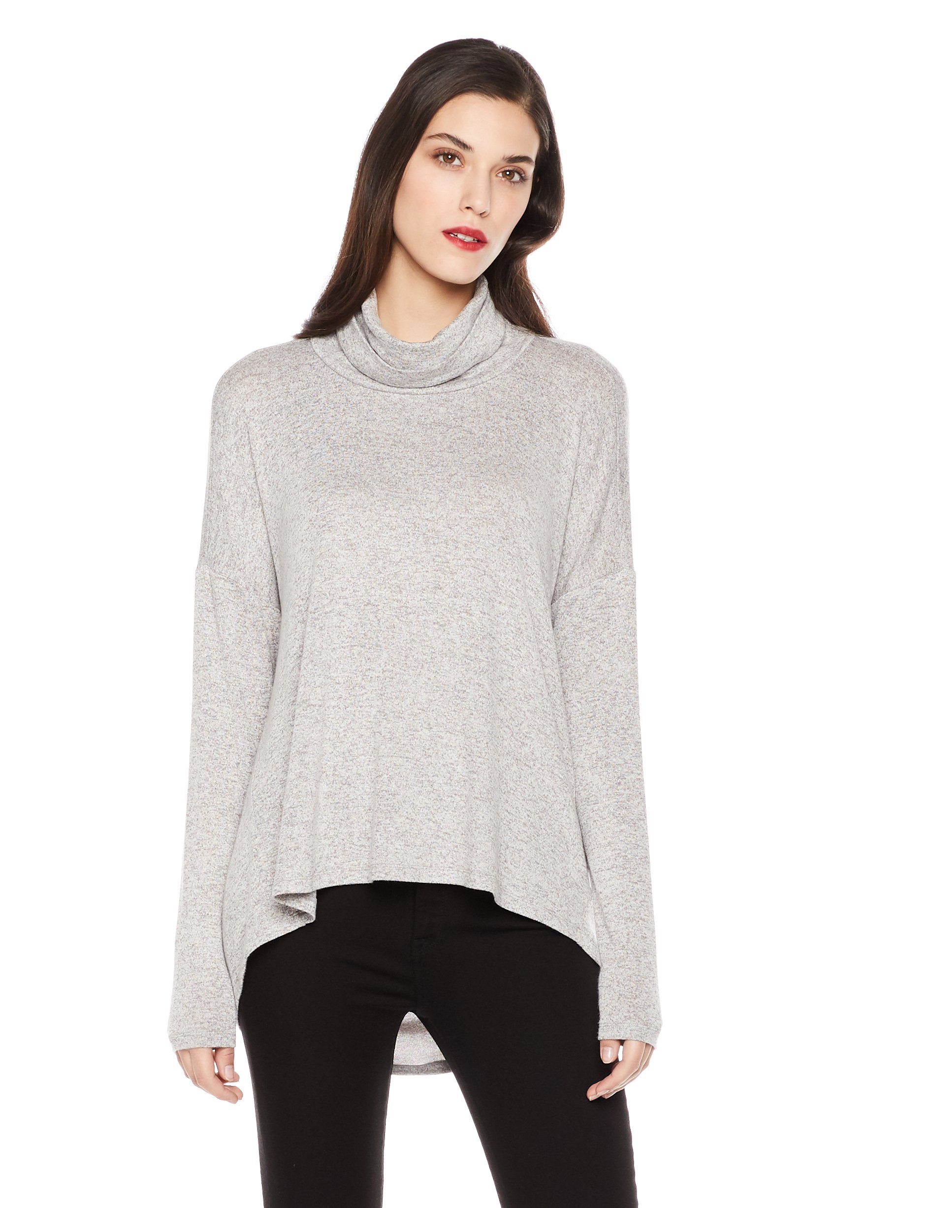 Mariella Bella Women's Long -Sleeve Relaxed-Fit Turtleneck/Cowl Neck Knit Top Large Light Grey Heather