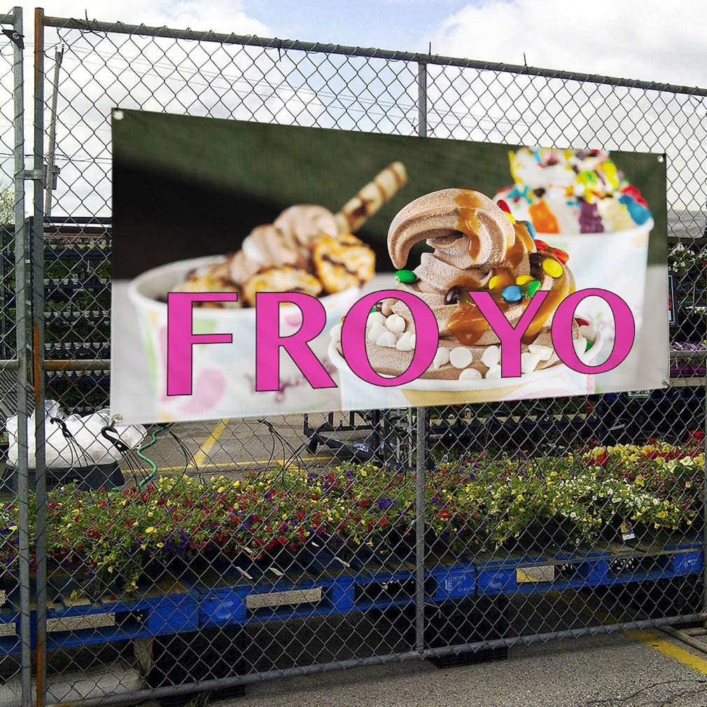 Multiple Sizes Available 6 Grommets Set of 2 Vinyl Banner Sign Fro Yo #2 Retail Froyo Outdoor Marketing Advertising White 32inx80in