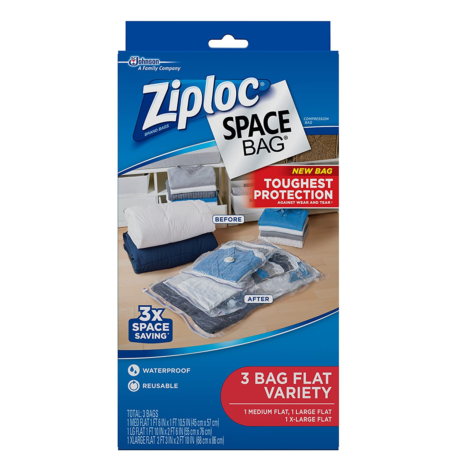 Ziploc Space Bag 3ct Combo Pack (1 Medium Flat, 1 Large Flat, 1 XL Flat) 031810704243