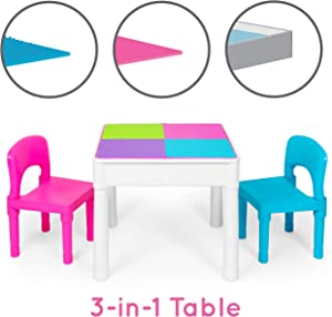 Kids Activity Table Set - 3 in 1 Water Table, Craft Table and Building Brick Table with Storage - Includes 2 Chairs and 25 Jumbo Bricks - Pastel Colors