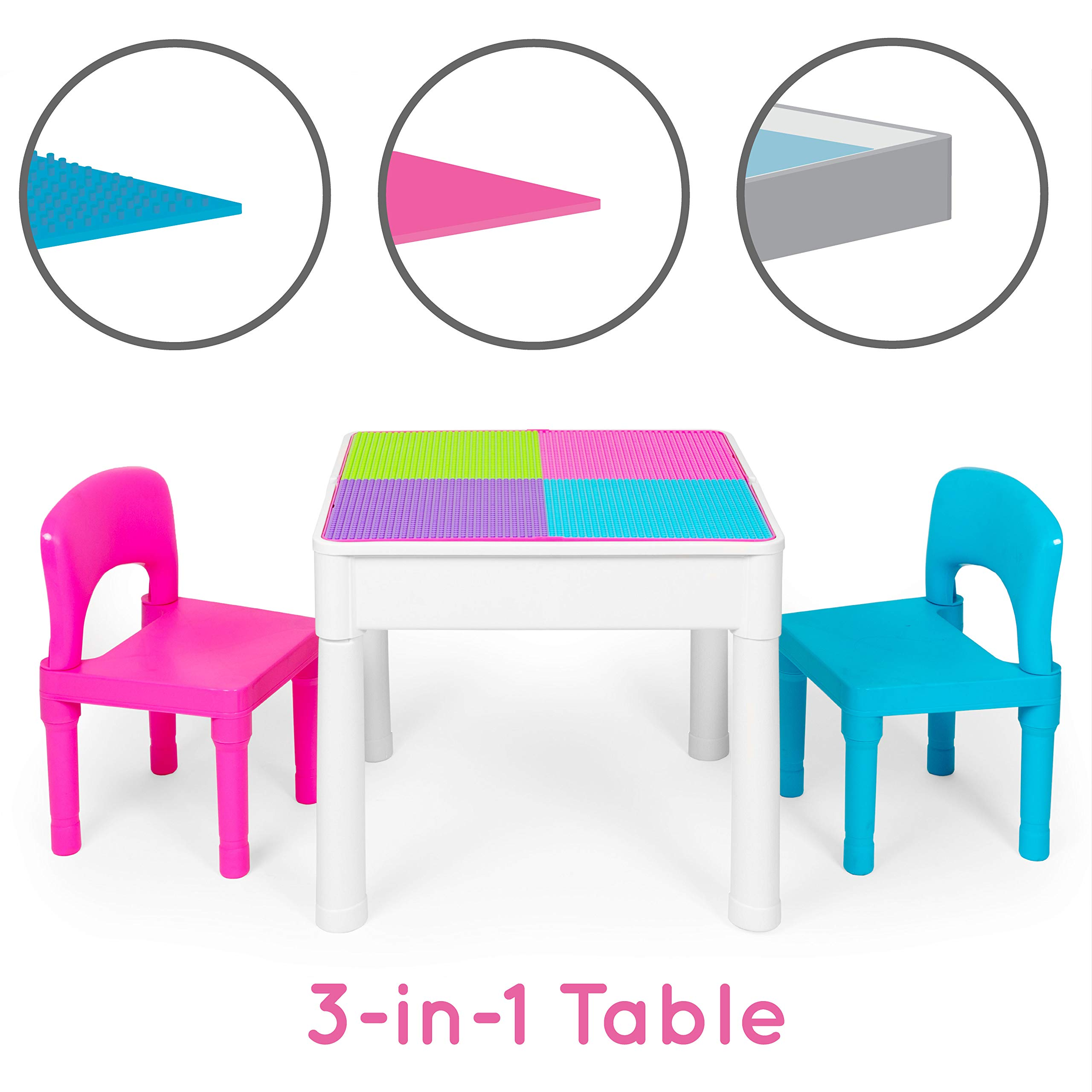 Kids Activity Table Set - 3 in 1 Water Table, Craft Table and Building Brick Table with Storage - Includes 2 Chairs and 25 Jumbo Bricks - Pastel Colors by Play Platoon