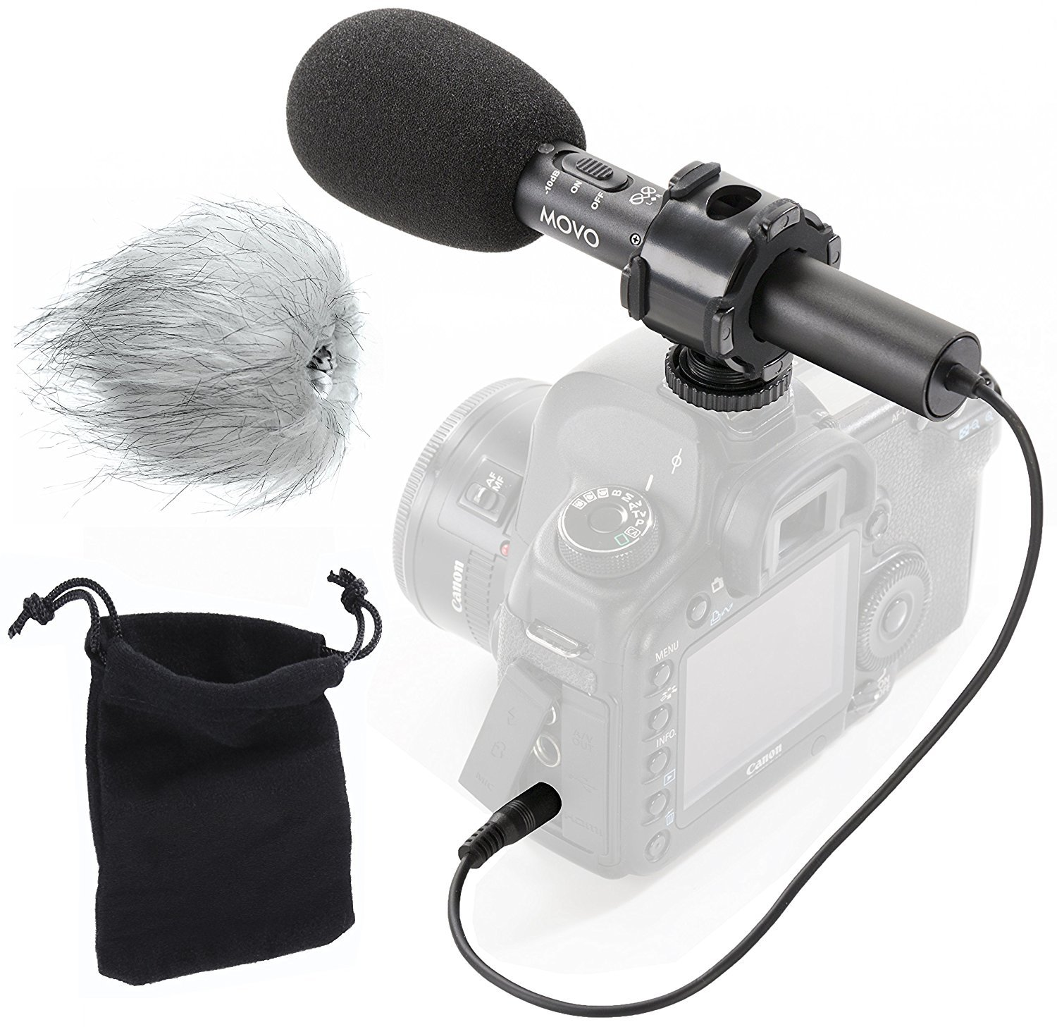 Movo On-Camera Stereo Video Microphone with Windscreens & Case for Nikon D850, D810, D800, D750, D610, D600, D500, D7500, D7200, D7100, D5600, D5500, D5300, D5200, D3300, D3200, D4, D5 DSLR