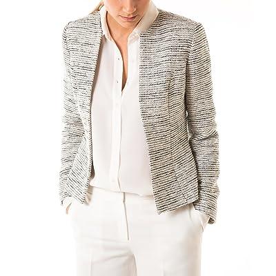 Blazer en tweed à encolure ronde, poches, ouverture devant, manches longues, doublure et ceinture à nouer.