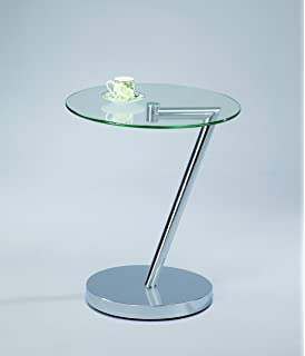 Captivating ASPECT Curve Round Side/End/Coffee Table, Glass, Clear, 45 X