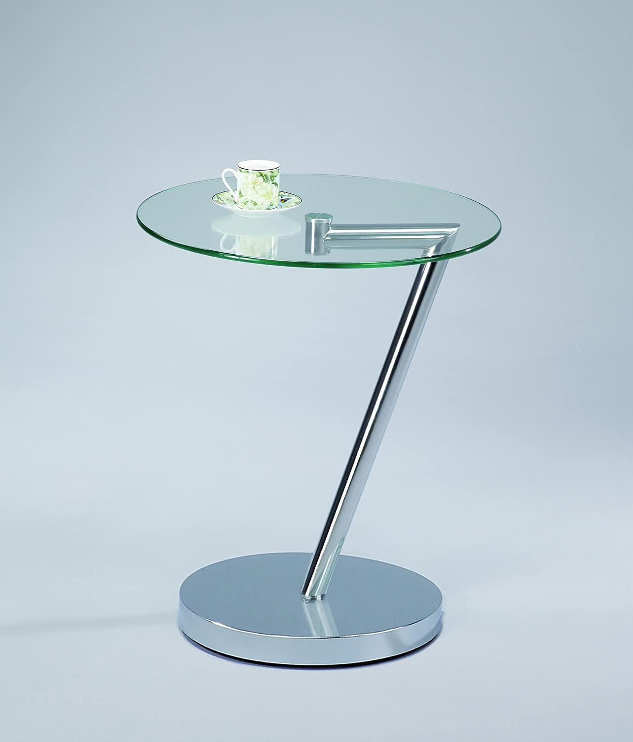 ASPECT Round Glass Side Side Side End Coffee Table-Curve Round Side Table -schwarz, Metal ce4440