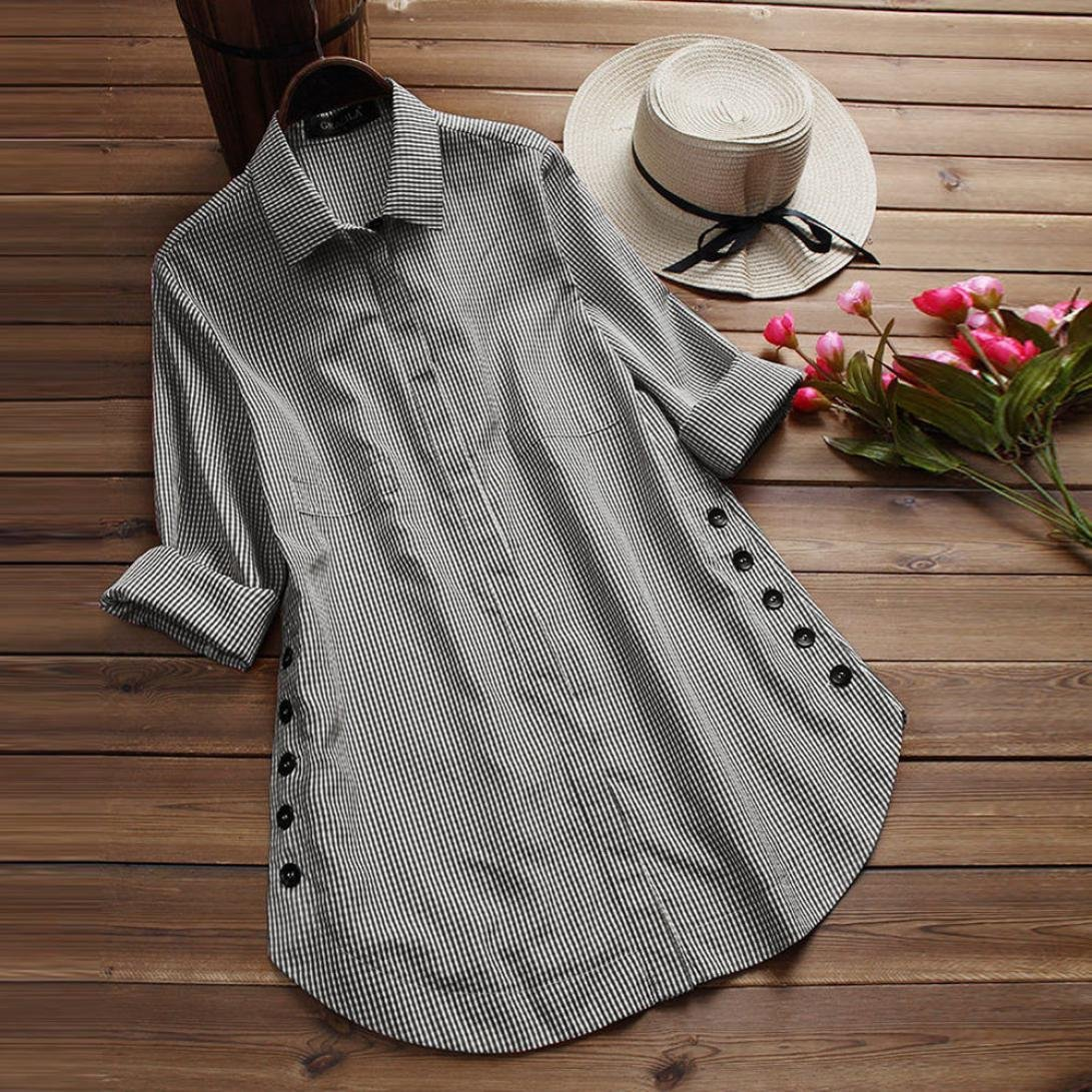 Amazon.com: TIFENNY Womens Tops Plus Size Long Sleeve Lattice Button Casual T Shirt Loose Long Blouse: Clothing