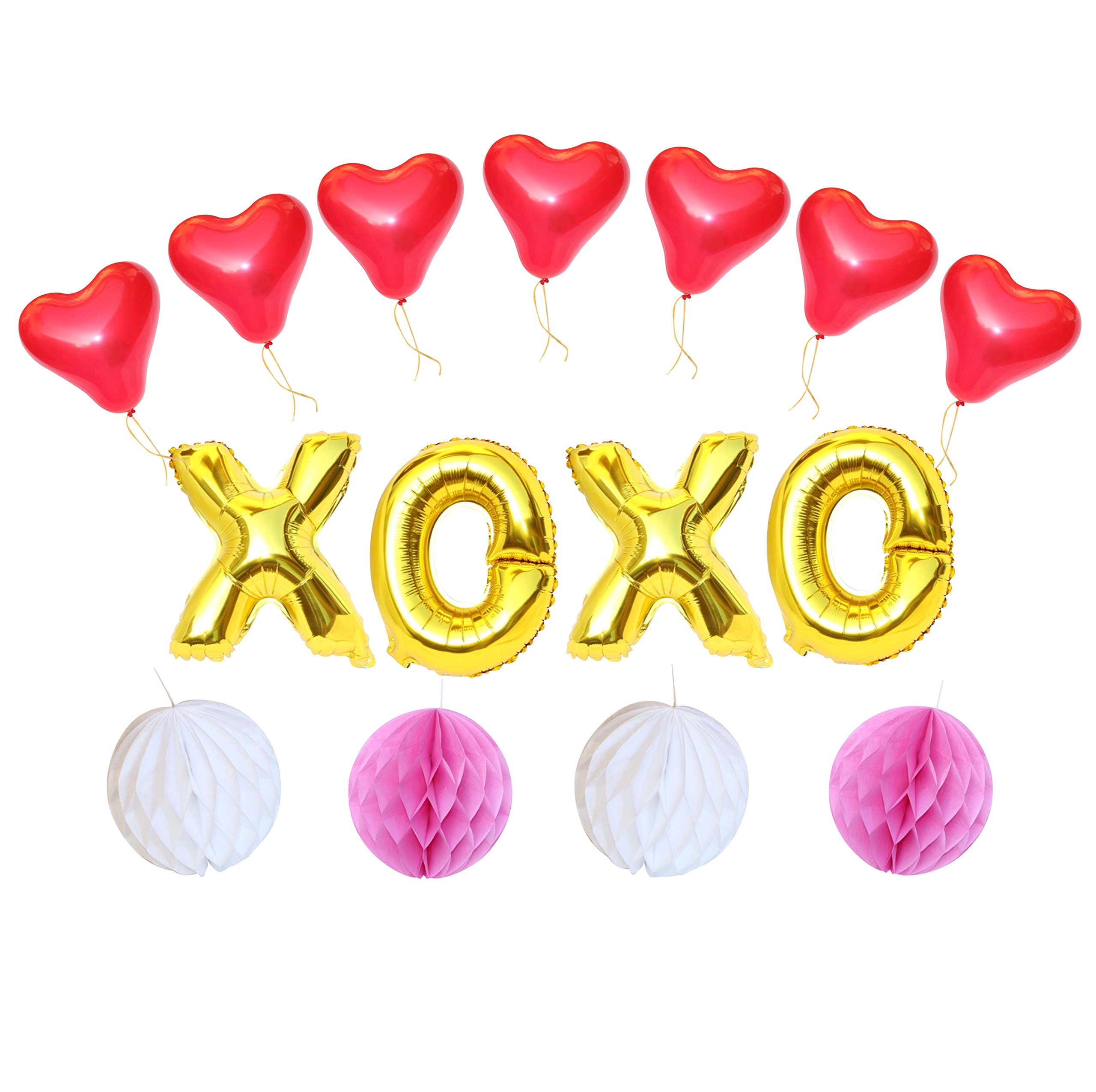 Anniversary XOXO Balloon Set: 16'' Gold foil Letters with Red Hearts, Pink & White Honeycomb Balls- Great for Anniversary, Valentine's Day, Engagement, Prom Decor (15 Piece Set) by PartyBox!