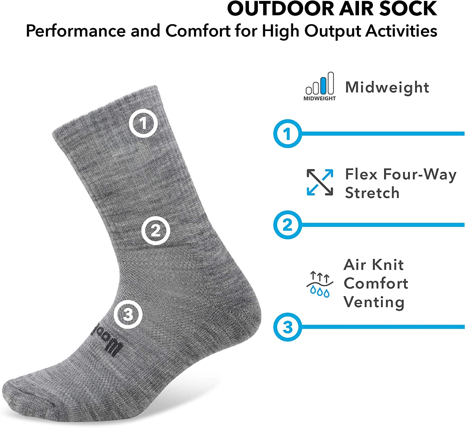 - Moisture wicking go anywhere sock anti-odor 2 Pairs Woolly Clothing Merino Wool Outdoor Air Sock -