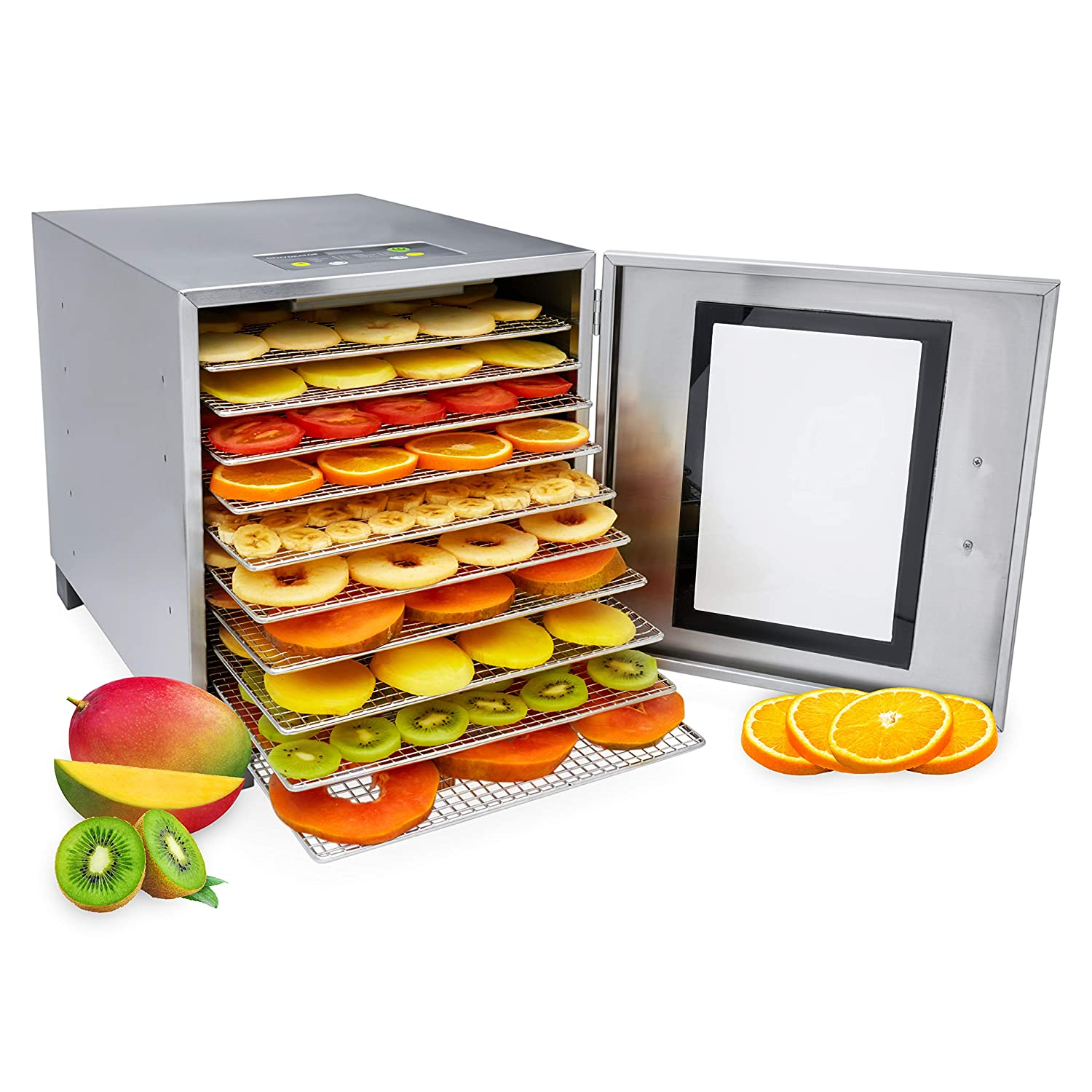 Morvat Stainless Steel Food Dehydrator Machine, Make Fruit Leather, Jerky, Dried Fruits and Veggies and More, Fruit and Meat Dehydrator, 10 Stainless Steel Trays (Dishwasher Safe)