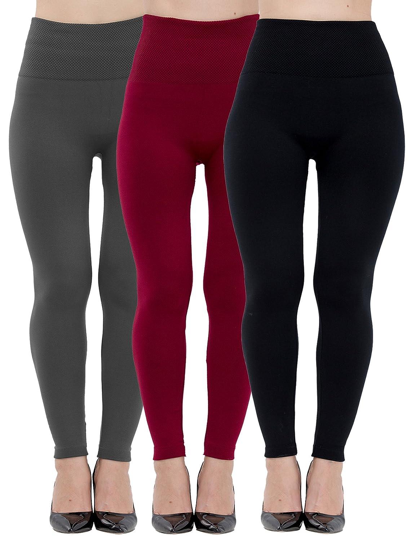 womens leggings fleece lined high waist 3 pack black charcoal
