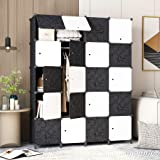 HOMEYFINE Portable Wardrobe for Hanging Clothes, Storage Organizer Cube Closet for Bedroom, Modular Plastic Cabinet Armoire w