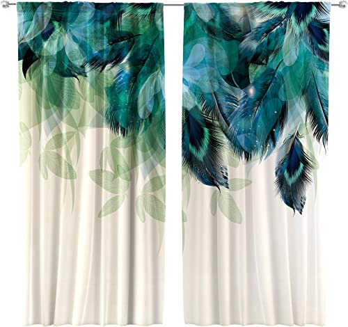 Riyidecor Watercolor Peacock Feather Curtains 2 Panels 42 x 63 Inch Teal Blue Rod Pocket Turquoise Floral Green Leaf Rustic Art Printed Living Room Bedroom Window Drapes Treatment Fabric