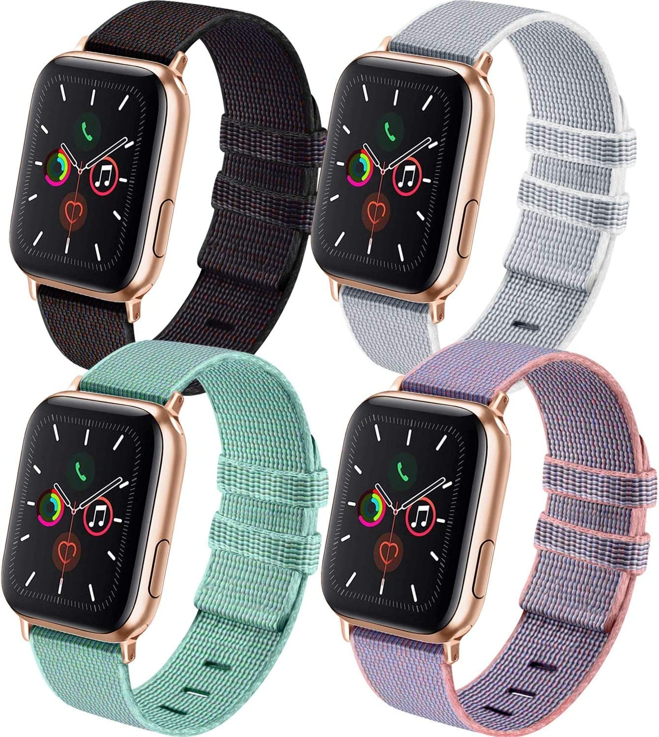 IEOVIEE Nylon Bands Compatible for Apple Watch Band 38mm 40mm 42mm 44mm, Adjustable Soft Lightweight Breathable Replacement Band for iWatch Series 6 5 4 3 2 1 SE