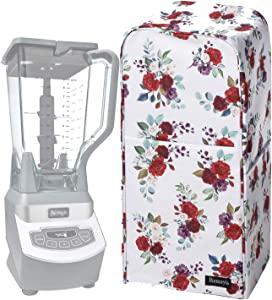 Blender Dust Cover with Accessory Pocket Compatible with Ninja Foodi (Medium, Flower-A)