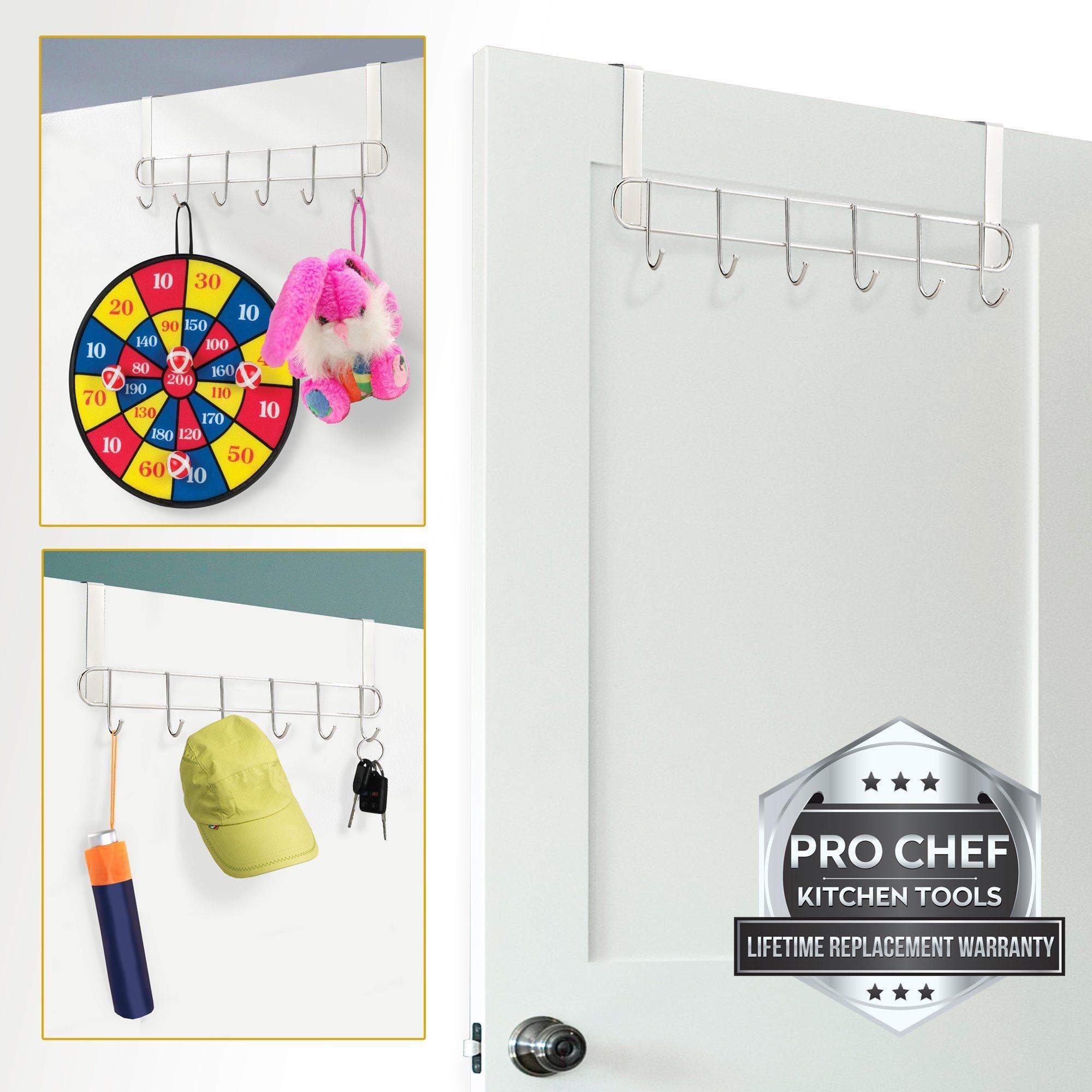 Pro Chef Kitchen Tools Over The Door Hook - General Purpose Storage Racks - 6 Coat Hooks - No Drill Towel Rack For Bathroom Storage Closet - Behind The Door Organizer Clothes Rack - Key Broom Hanger