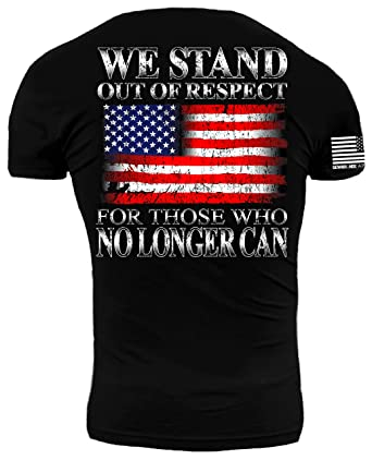 We Stand Out of Respect American Flag Premium Athletic Fit T Shirt (Medium) 1ad0cf44a