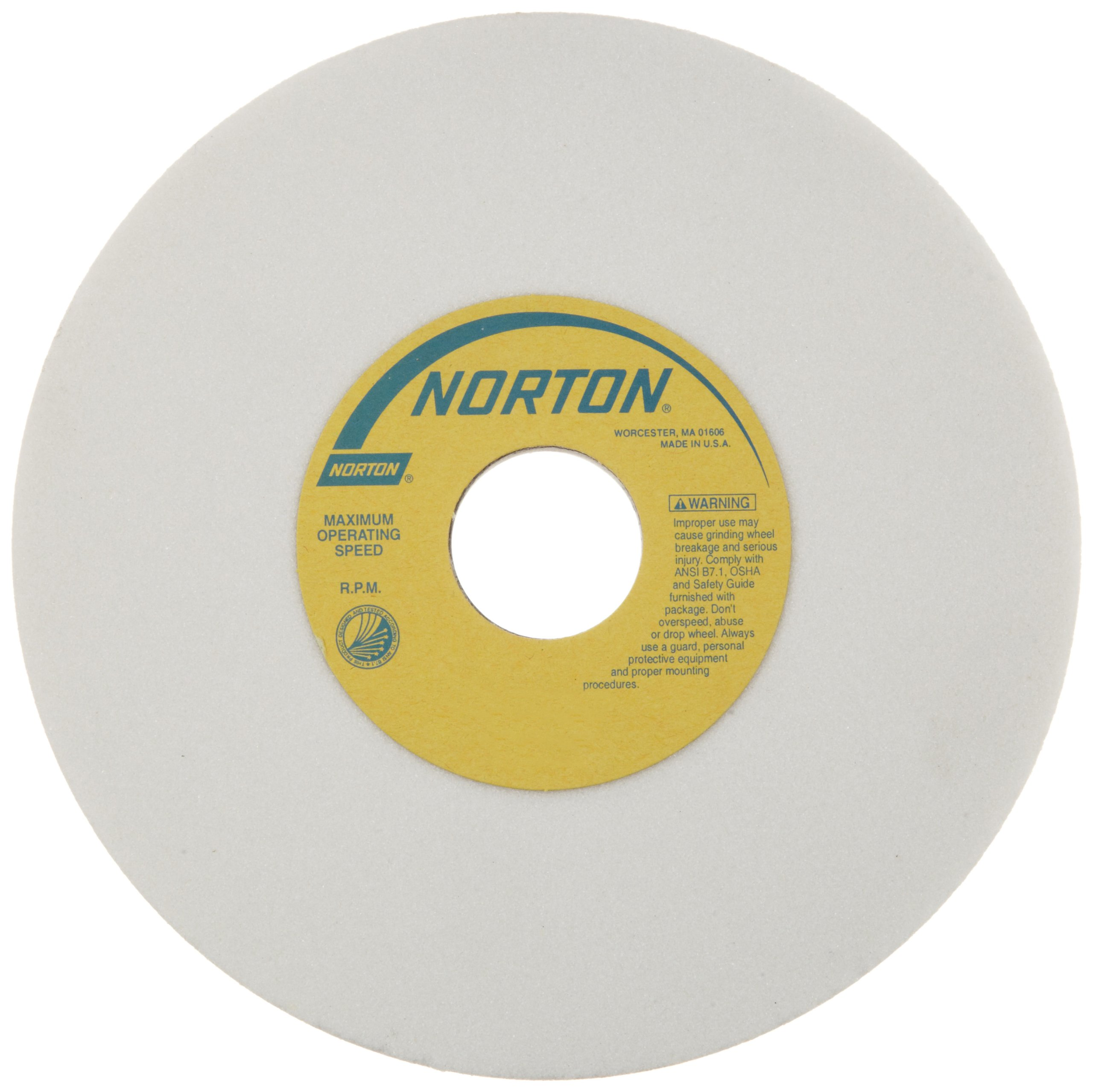 Norton 38A Vitrified Toolroom Abrasive Wheel, Type 1 Straight, Aluminum Oxide, 1-1/4'' Arbor, 7'' Diameter, 1/2'' Thickness, 60-I Grit (Pack of 1)